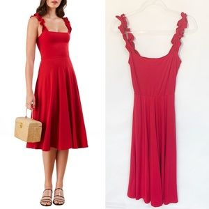 REFORMATION Eda Red Ruffle Strap pocket dress S
